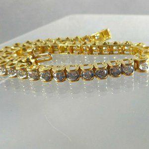 14K Solid Yellow / White Gold 3CT Tennis Bracelet